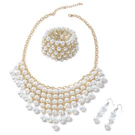 Simulated White Pearl (Rnd) BIB Necklace, Hook Earrings and Bracelet in Yellow Plated.