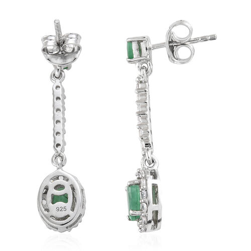 Kagem Zambian Emerald (Ovl), Natural Cambodian Zircon Earrings (With Push Back) in Platinum Overlay Sterling Silver 2.000 Ct.
