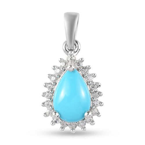 Arizona Sleeping Beauty Turquoise and Natural Cambodian Zircon Pendant in Platinum Overlay Sterling Silver 1.53 Ct.