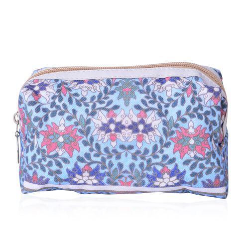 Set of 2 - Blue, Pink and Multi Colour Floral Pattern Cosmetic Bag (Size Large 26X17X9 Cm and Small 15X11X7 Cm)