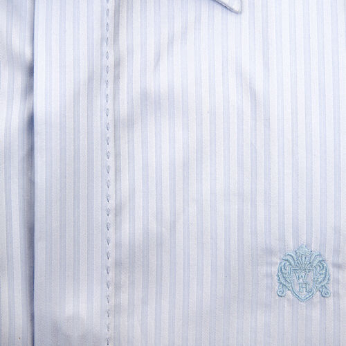 William Hunt - Saville Row Forward Point Collar Light Blue and White Shirt (Size 15) - Sky over Indigo - Geometric