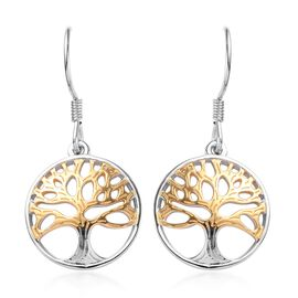 Platinum and Yellow Gold Overlay Sterling Silver Tree of Life Hook Earrings