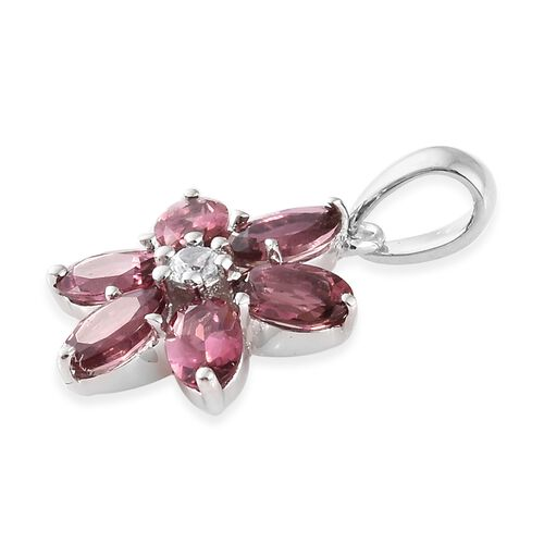 9K White Gold AA Pink Tourmaline (Ovl), Natural Cambodian Zircon Floral Pendant 1.400 Ct.