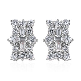 ILIANA 18K White Gold IGI Certified (SI/G-H) Diamond (Bgt and Rnd) Earrings (with Screw Back) 1.000