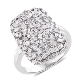 Designer Inspired - Fire Cracker Diamond (Bgt) Cluster Ring (Size O) in Platinum Overlay Sterling Silver 1.00
