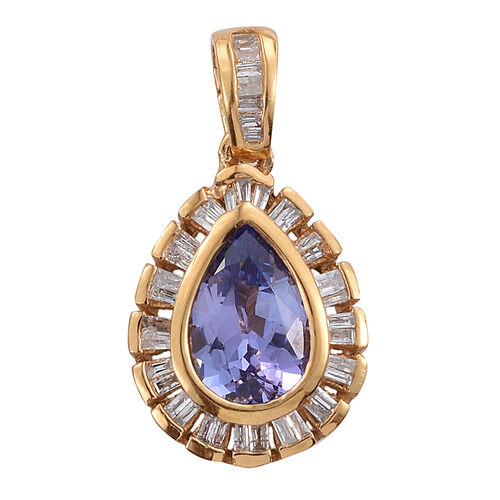 Tanzanite (Pear 1.30 Ct), Diamond Pendant in 14K Gold Overlay Sterling Silver 1.500 Ct.