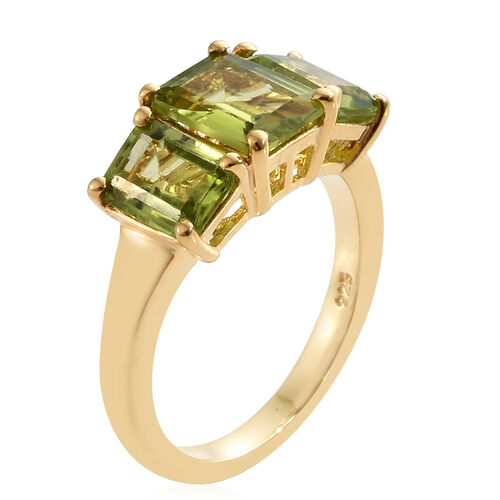 Hebei Peridot (Oct) 3 Stone Ring in 14K Gold Overlay Sterling Silver 4.000  Ct.
