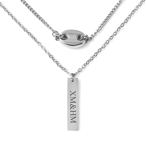 Personalise Engravable Bar Necklace, Size 16+2 Inch, Stainless Steel