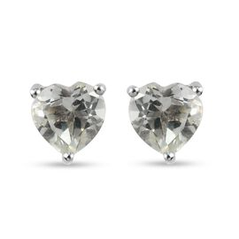 Prasiolite Heart Stud Earrings (with Push Back) in Platinum Overlay Sterling Silver 1.65 Ct.
