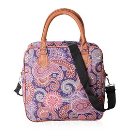 Water Resistant Purple and Multi Colour Paisley Pattern Tote Bag (Size 30x29.5x13.5 Cm)