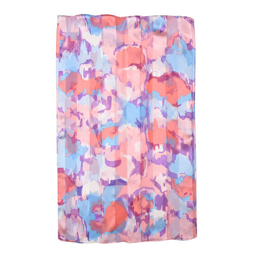 LA MAREY 100% Mulberry Silk Purple, Pink and Multi Colour Print Scarf  in Gift Box (165x50cm)