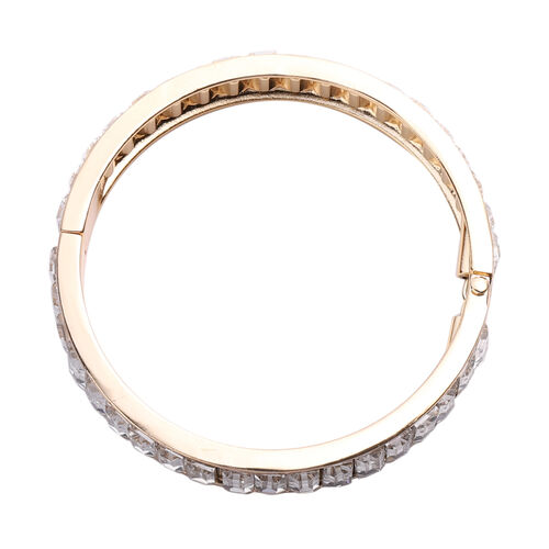 2 Piece Set - Simulated Diamond Eternity Bangle (Size 7.5) and Earrings (with Push Back) in Gold Tone