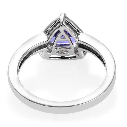 RHAPSODY 950 Platinum AAAA Tanzanite (Trl 7mm) and Diamond (VS/E-F) Ring 1.50 Ct, Platinum wt 5.20 Gms