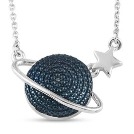 Blue Diamond Celestial Necklace in Platinum Overlay Sterling Silver, Silver wt. 5.77 Gms