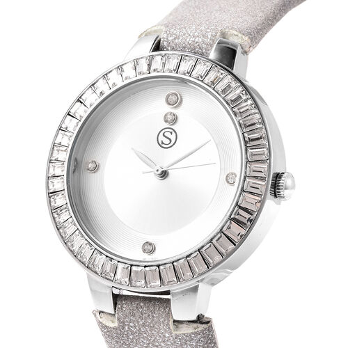 3 Piece Set - STRADA Japanese Movement White Austrian Studded Water Resistant Watch with Light Grey Strap, Simulated Diamond Studded Earrings and Pendant with Chain (Size 24) in Silver Tone