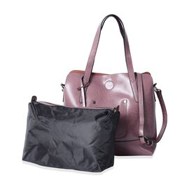 Set of 2 - 100% Genuine Leather Purple Colour Tote Bag (Size 31x30x12 Cm) and Pouch (Size 29x22x11 Cm)