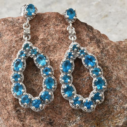 AA Malgache Neon Apatite (Rnd and Ovl), Natural Cambodian Zircon Drop Earrings (with Push Back) in Platinum Overlay Sterling Silver 3.000 Ct. Silver wt 5.97 Gms.
