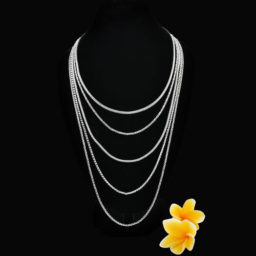 Royal Bali Collection - Sterling Silver Multi Strand Necklace (Size 18-32), Silver wt 129.00 Gms