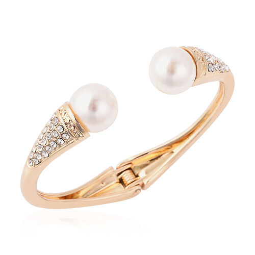 Simulated Pearl and White Austrian Crystal Hinged Bangle (Size 6.5) in Yellow Gold Tone