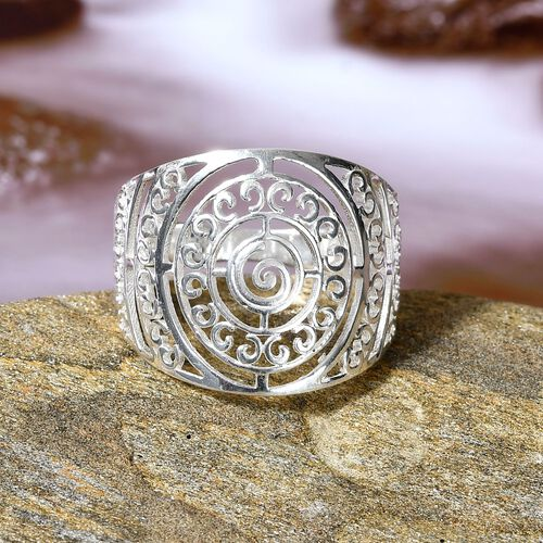 Artisan Crafted - Sterling Silver Cobbled Pattern Band Ring