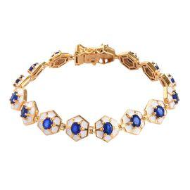 Tanzanian Blue Spinel Enamelled Bracelet (Size 7) in 14K Gold Overlay Sterling Silver 6.00 Ct, Silve