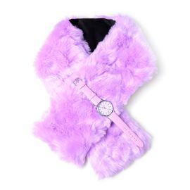 2 Piece Set - STRADA Japanese Movement Watch with Purple Colour Strap and  Purple Colour Faux Fur Sc