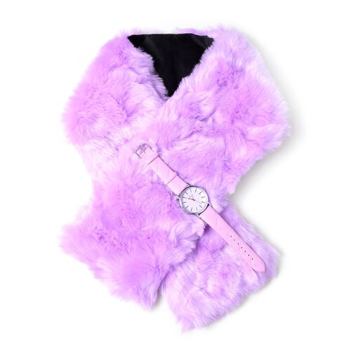 STRADA Japanese Movement Watch with Purple Colour Strap and  Purple Colour Faux Fur Scarf (Size 100x15 Cm)