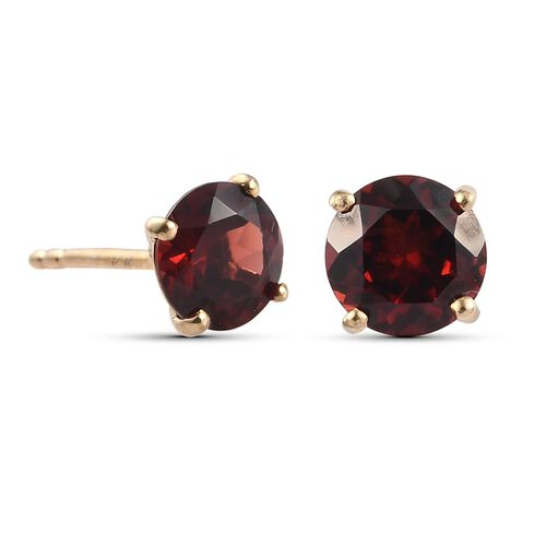 Mozambique Garnet Stud Earrings (with Push Back) in 14K Yellow Go2ld Overlay Sterling Silver 2.00 Ct.