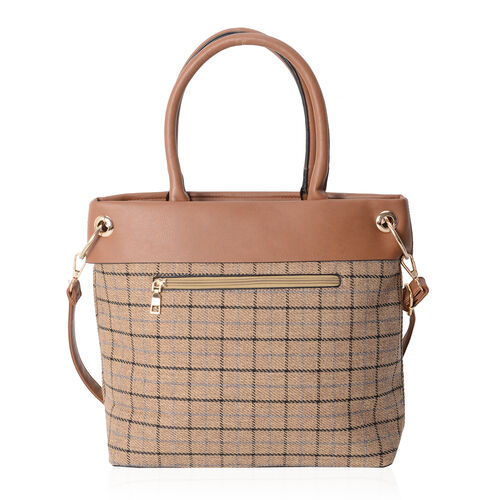 Moorgate Checked Pattern Large Tote Bag with External Zipper Removable Shoulder Strap (Size 31x30x12 Cm)