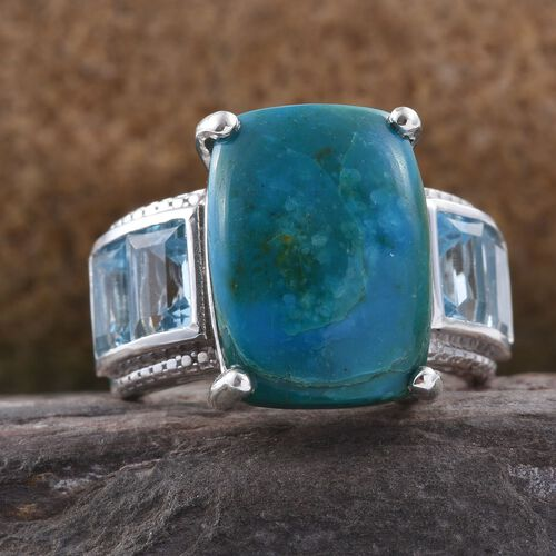 Natural Rare Opalina (Cush 10.00 Ct), Sky Blue Topaz Ring in Platinum Overlay Sterling Silver 15.000 Ct.
