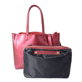 Hong Kong Collection - Set of 2 - 100% Genuine Leather Rose Metallic Colour Handbag with Detachable Shoulder Strap (Size 41x32x28x13 Cm) and Pouch ( Size 31x26.5x13 Cm)