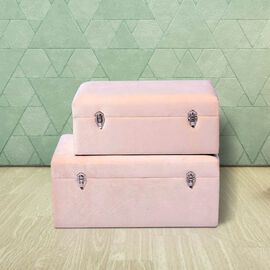 Set of 2 Off-White Velvet Fabric Covered Wooden Trunks