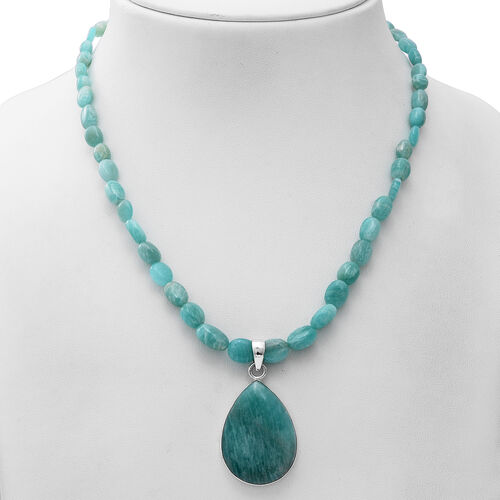 GP - Russian Amazonite Necklace with Teardrop Pendant  Star Charm in Platinum Overlay Sterling Silver 150.03 Ct.