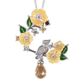 Jardin Collection - Yellow Mother of Pearl, Citrine, Mozambique Garnet, Paraiba Apatite and Natural