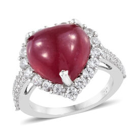 African Ruby (Hrt 10.40 Ct), Natural Cambodian Zircon Ring in Platinum Overlay Sterling Silver 12.000 Ct.