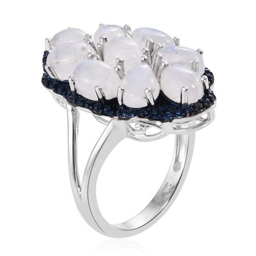 Sri Lankan Rainbow Moonstone (Ovl and Pear) Ring in Platinum Overlay Sterling Silver 8.500 Ct. Silver wt. 6.40 Gms.