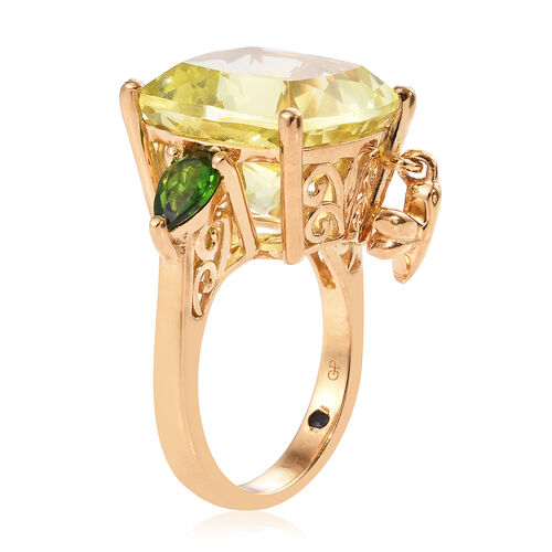 GP Natural Ouro Verde Quartz (Cush 14X14), Russian Diopside and Kanchanaburi Blue Sapphire Ring with Dragon Fly Charm in 14K Gold Overlay Sterling Silver 12.000 Ct, Silver wt 5.28 Gms.