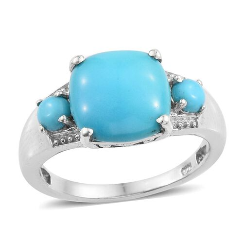 4 Carat Sleeping Beauty Turquoise Trilogy Design Ring in Platinum Plated Silver