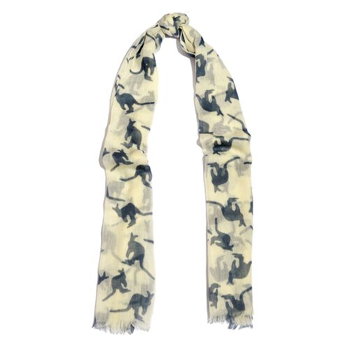 100% Merino Wool Grey and Cream Colour Kangaroo Printed Scarf with Fringes (Size 180X70 Cm)