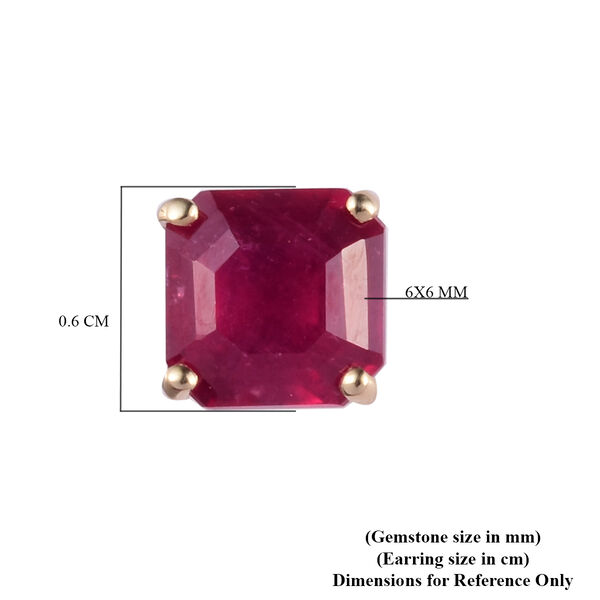 9K Yellow Gold African Ruby (FF) (Asscher Cut 6x6mm) Stud Earring (with Push Back) 3.00  Ct.