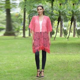 JOVIE Lace Kimono with Tassel (Size:90x75 cm) -Pink