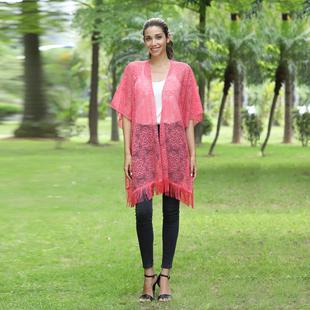 JOVIE Lace Kimono With Tassel Detailing - Pink