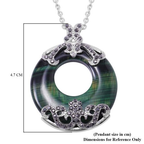Green Tigers Eye and Hematitie Colour Austrian Crystal Pendant with Chain in Stainless Steel