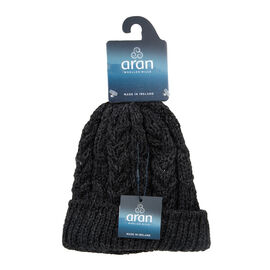 ARAN 100% Pure New Wool Irish Hat in Charcoal Colour (One Size)