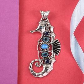 Sajen Silver Natures Joy Collection - Opal Blue Doublet Quartz, Celestial Pariba Doublet Quartz & Celestial Sapphire Doublet Quartz Enamelled Pendant in Platinum Overlay Sterling Silver 2.35 Ct.