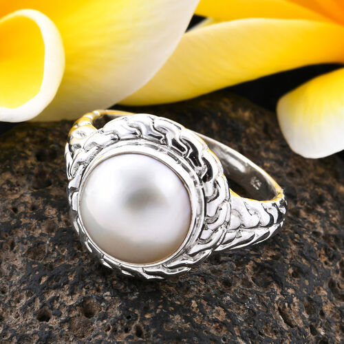 Royal Bali Collection - White Mabe Pearl Ring in Sterling Silver, Silver wt 8.25 Gms