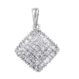9K White Gold SGL Certified Diamond (Rnd and Bgt) (I2-13/G-H) Pendant 0.500 Ct.
