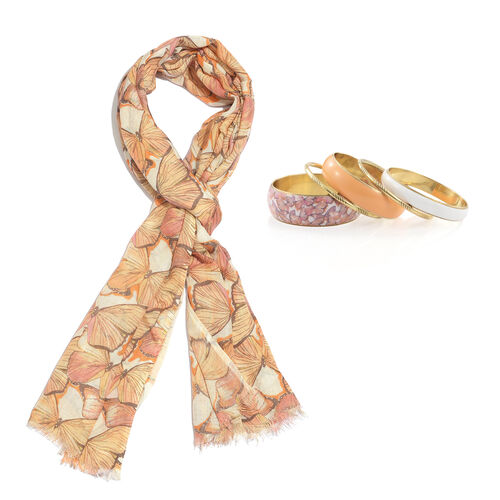 Yellow and Multi Colour Butterfly Printed Scarf (Size 180x70 Cm) with Matching Set of 5 Bangles (Size 8) in Gold Tone