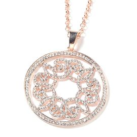 White Austrian Crystal (Rnd) Circle Pendant with Chain (Size 29 and 2 inch Extender) in Yellow Gold Tone