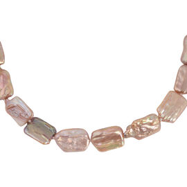 Multi Colour Baroque Pearl Necklace (Size 20) with Magnetic Lock in Rhodium Overlay Sterling Silver